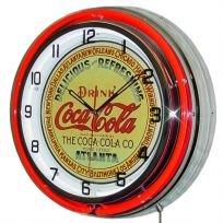 Coca-Cola Keg Label Double Neon Kitchen Clock