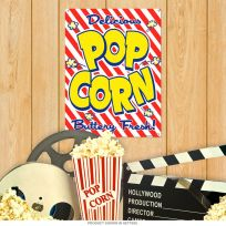 Delicious Popcorn Buttery Fresh Theater Metal Sign 12 x 16