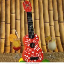 Floral Ukulele Hawaiian Decoration Toy Red_D