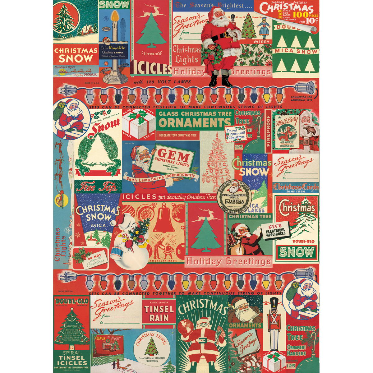 Retro Christmas.Retro Christmas Decoration Ads Crafting Mod Podge Gift Wrap
