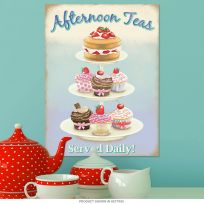 Afternoon Teas Tea Cake Stand Metal Bakery Sign