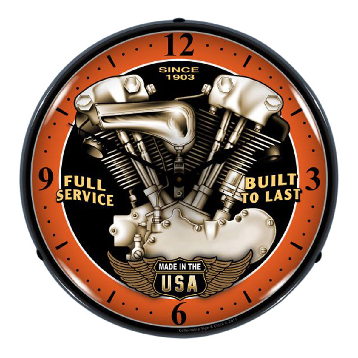 V twin usa motorcycle engine light up clock vintage garage v twin usa motorcycle engine light up clock vintage garage clocks retroplanet amipublicfo Images