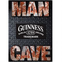 Guinness Beer and Man Cave Diamond Plate Metal Sign Set_D