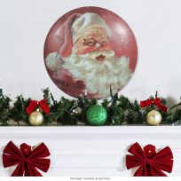 Santa Claus Vintage Style Christmas Button Sign_D