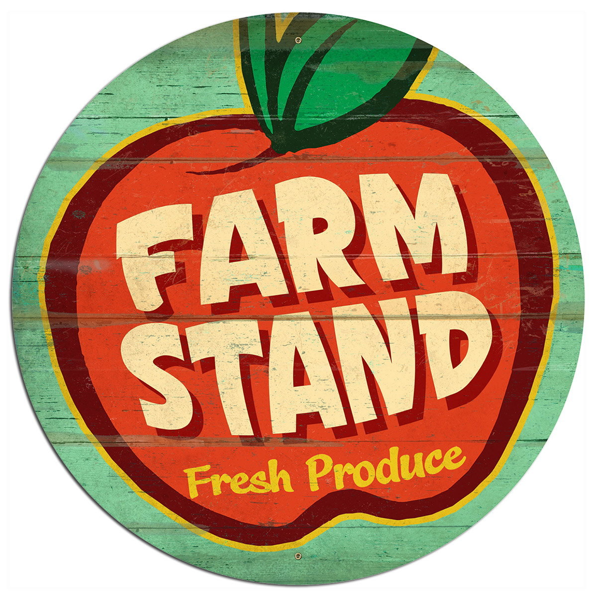 Farm Stand Fresh Produce Apple Metal Sign Large | Vintage Signs ...