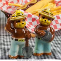 Smokey Bear Fighting Fire Salt and Pepper Shakers
