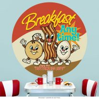 Breakfast Anytime Dancing Food Wall Decal