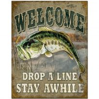 Welcome Drop A Line Bass Fishing Tin Sign