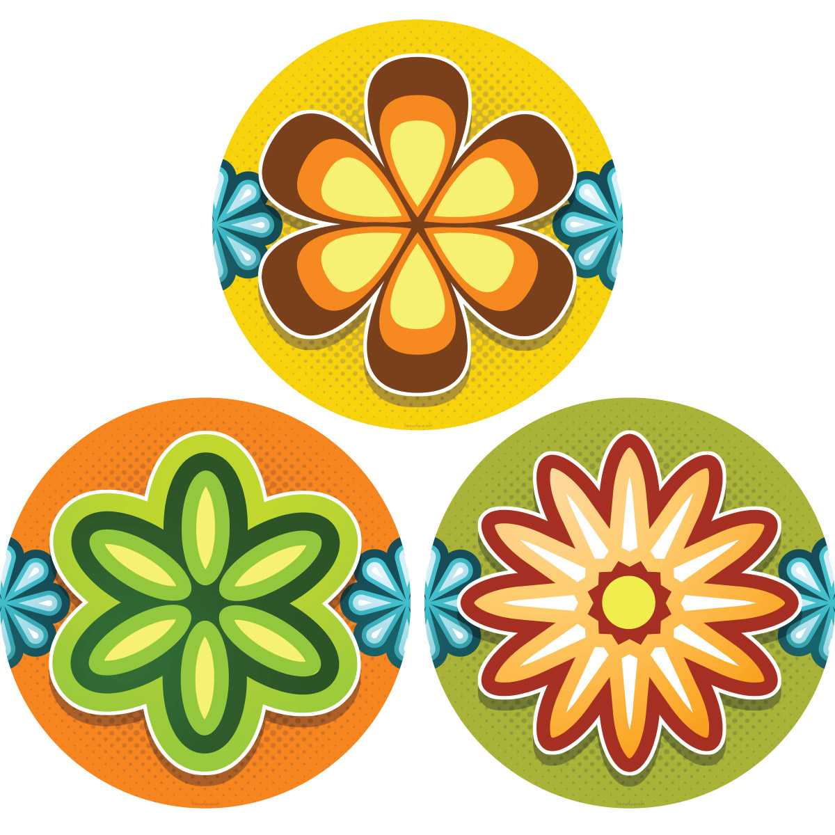 Mod Flower 70s Style Wall Decals Set | Removable Wall Sticker ...