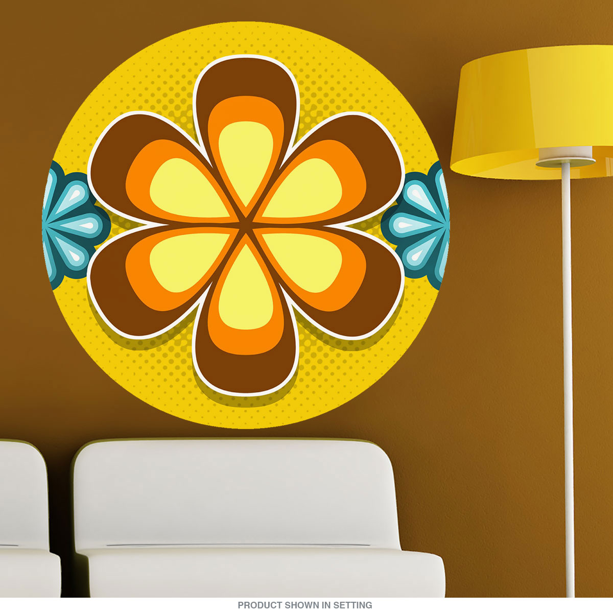 Mod Flower 70s Style Wall Decal Brown | Removable Wall Sticker ...