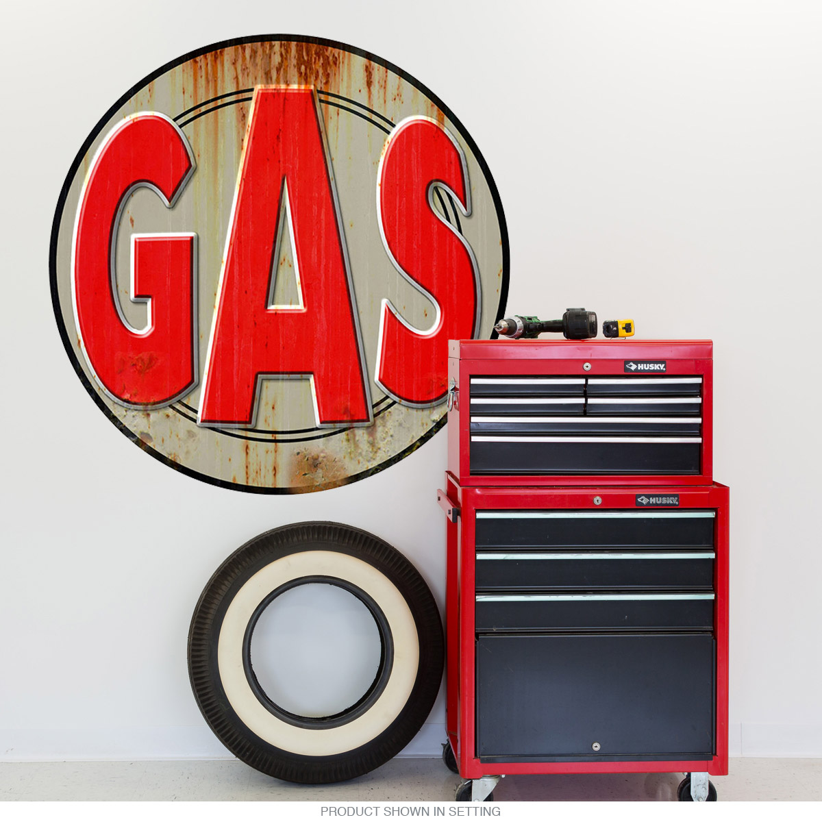Gas Station Gasoline Weathered Wall Decal