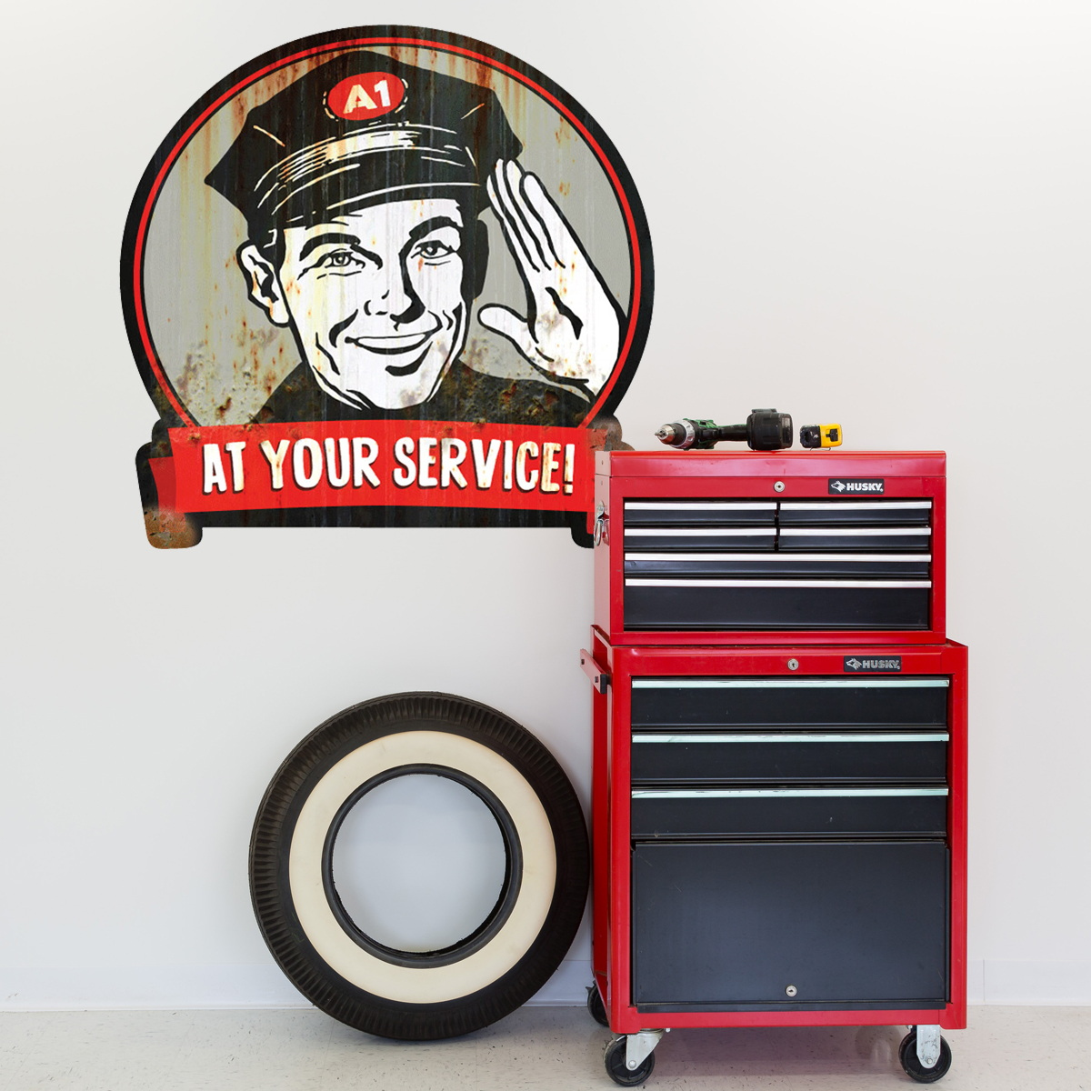 Gas Station At Your Service Wall Decal