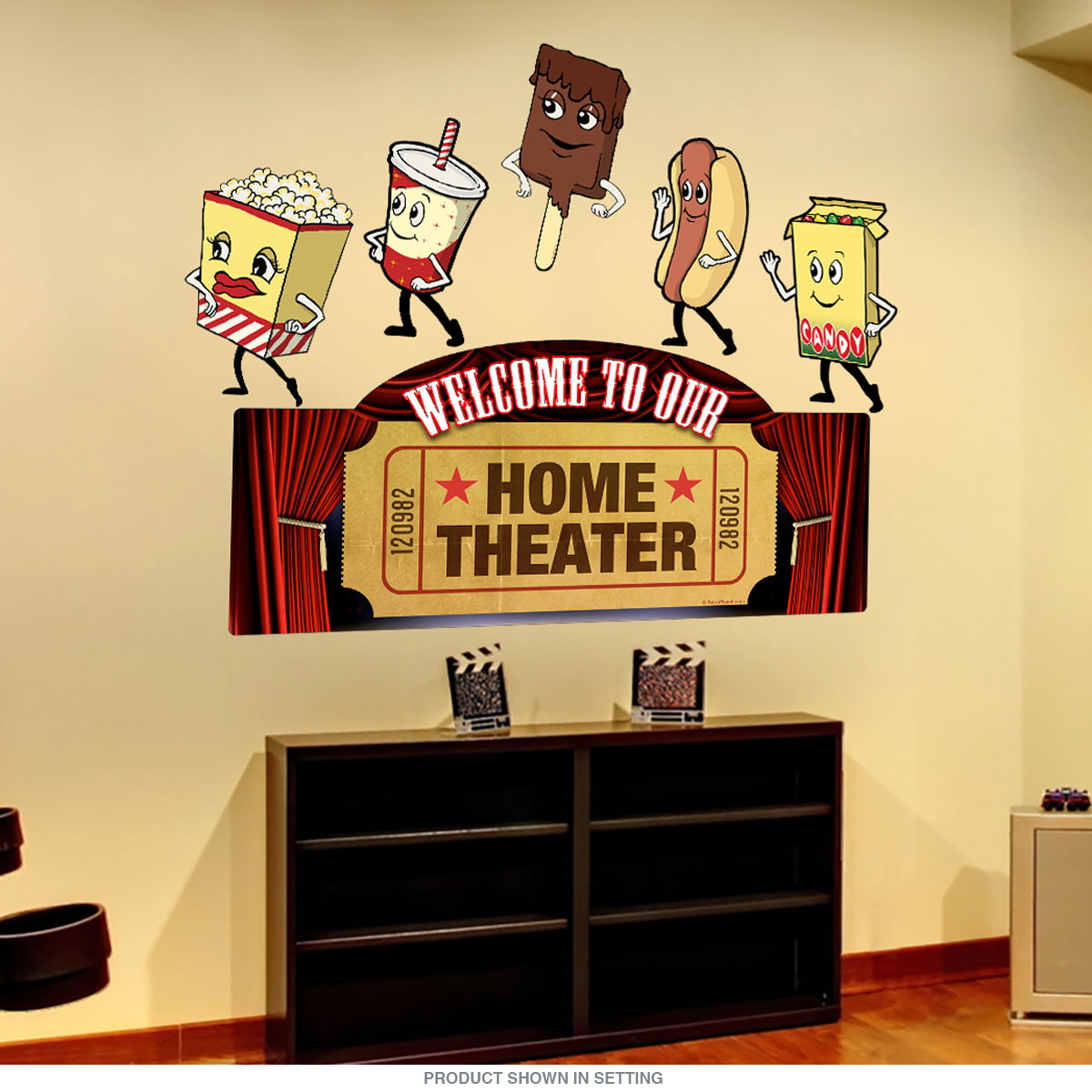 Home Theater Welcome Snacks Wall Decal Set | Movie Decor ...