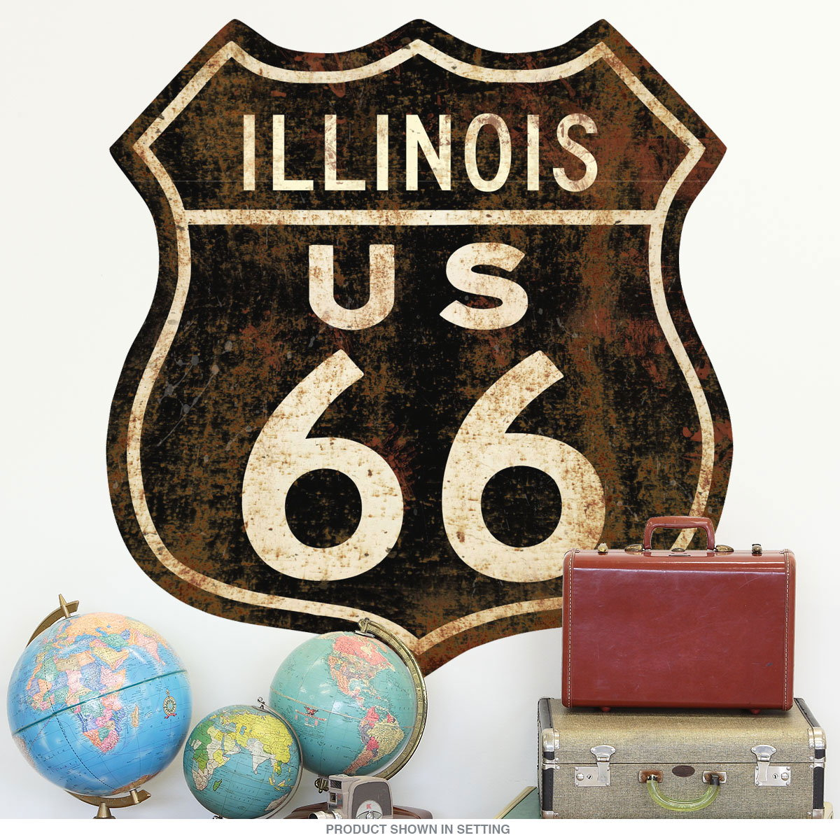 Route 66 Illinois Distressed Wall Decal Garage Decor Retroplanet