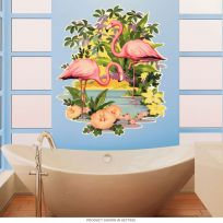 Pink Flamingos Hibiscus Flower Wall Decal