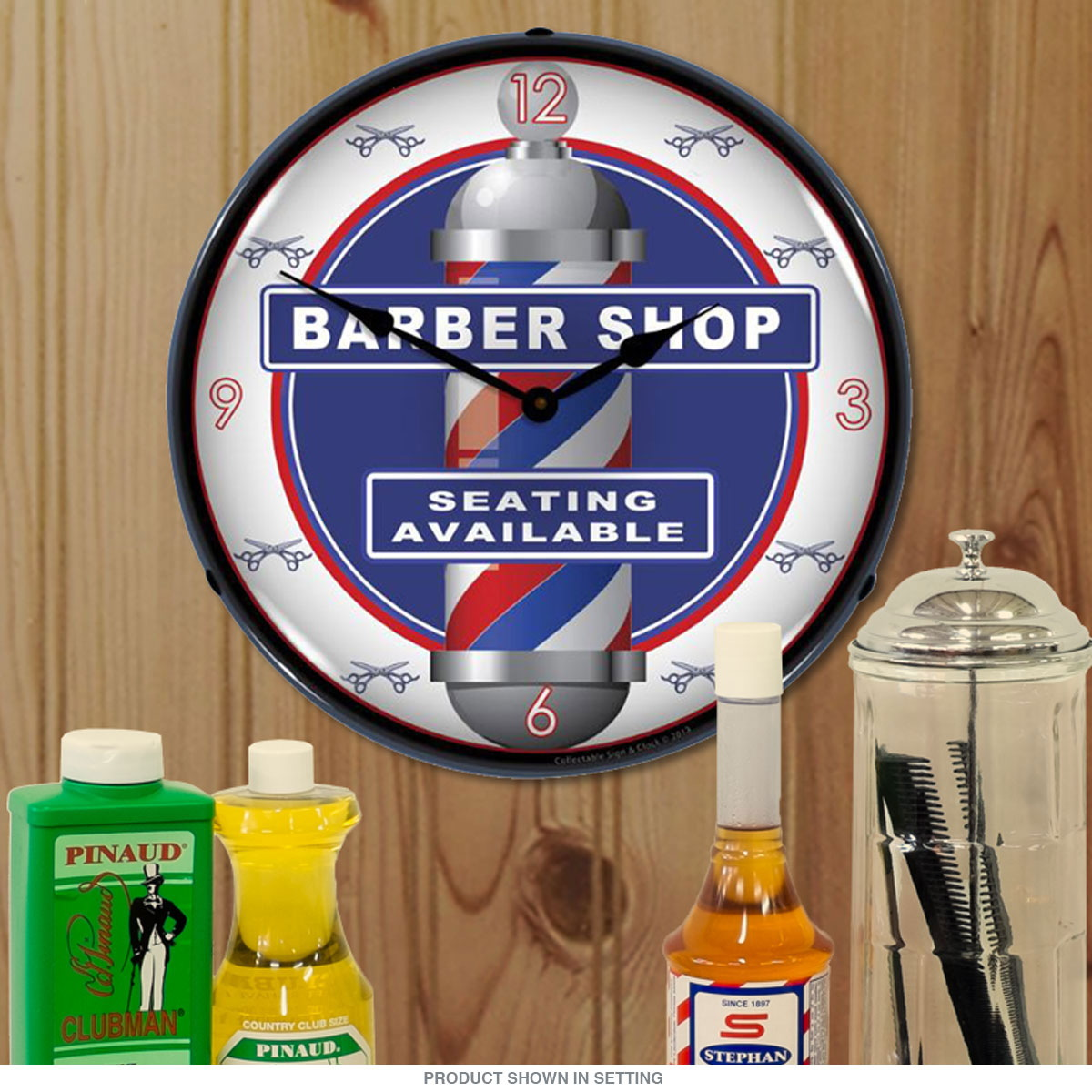 Barber Shop Pole Seating Available Light Up Clock