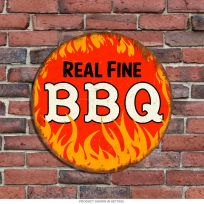 Real Fine BBQ Flames Round Metal Kitchen Sign 14 in