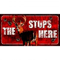 The Buck Stops Here Bullet Holes Hunting Sign_D