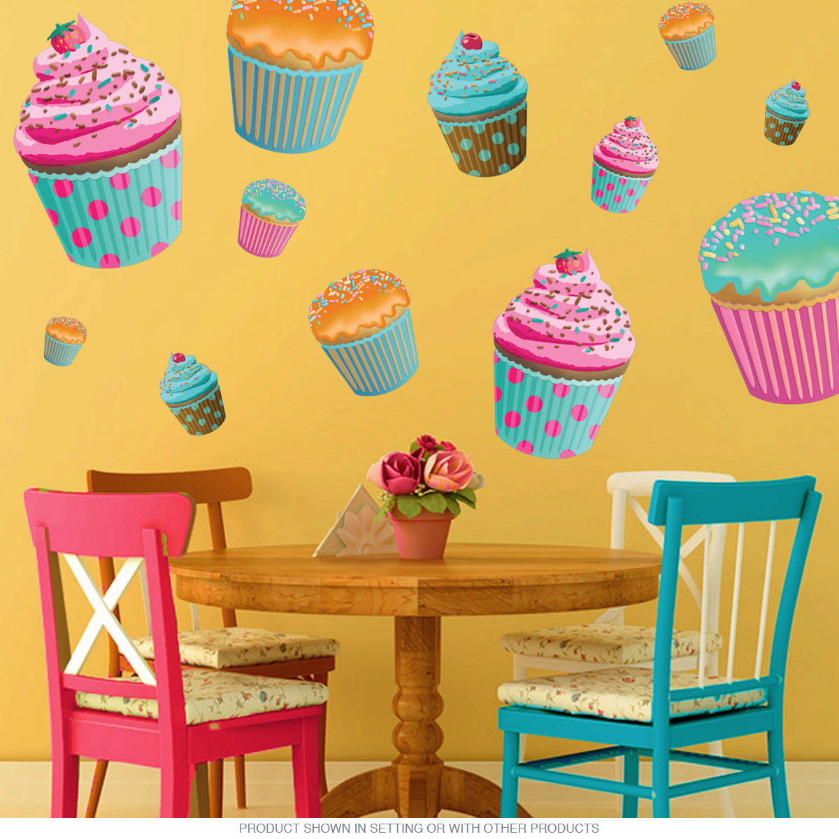 Chocolate Cupcake Wall Decal Pink | Bakery Wall Decor | RetroPlanet.com