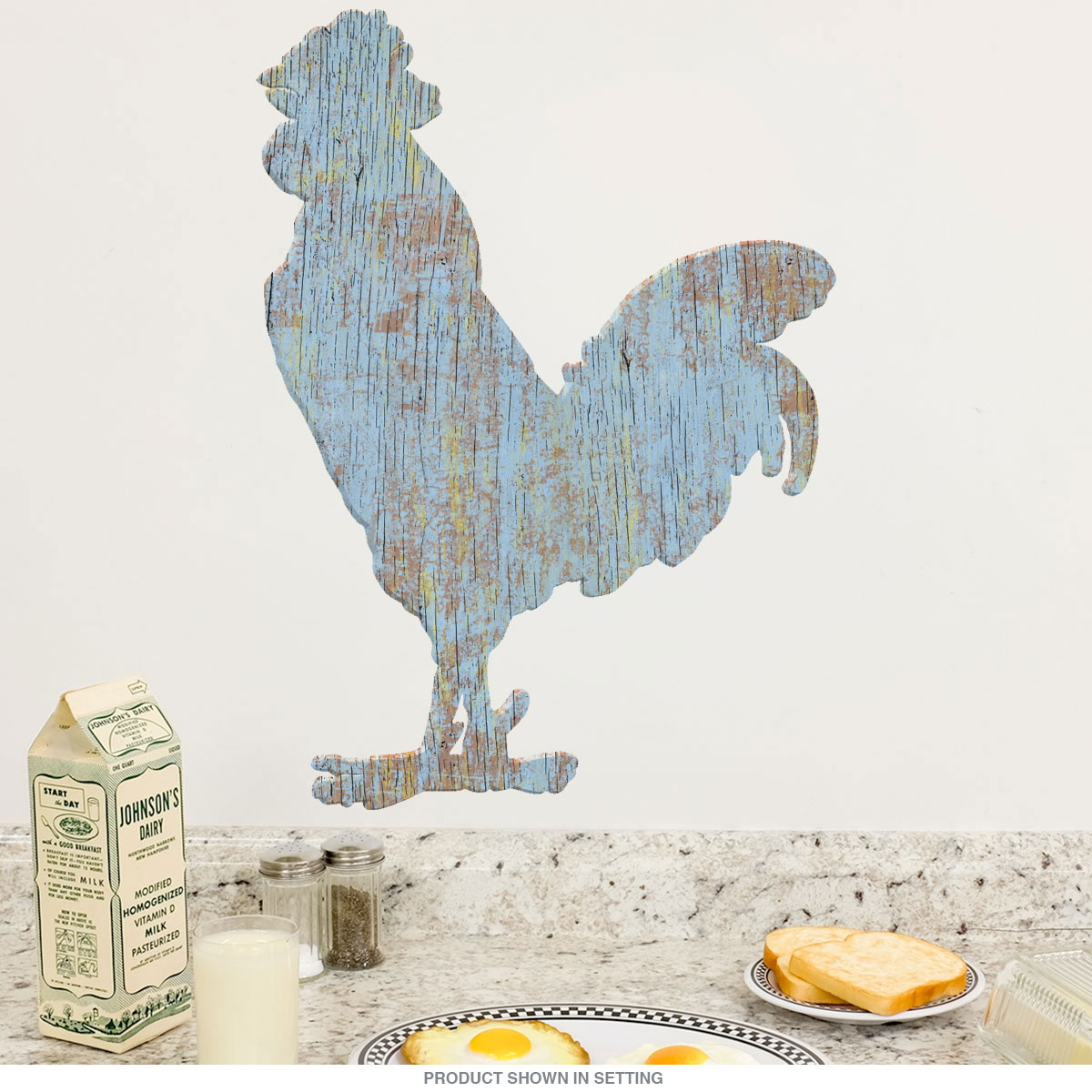 Rooster Farm Animal Wall Decal Blue at Retro Planet