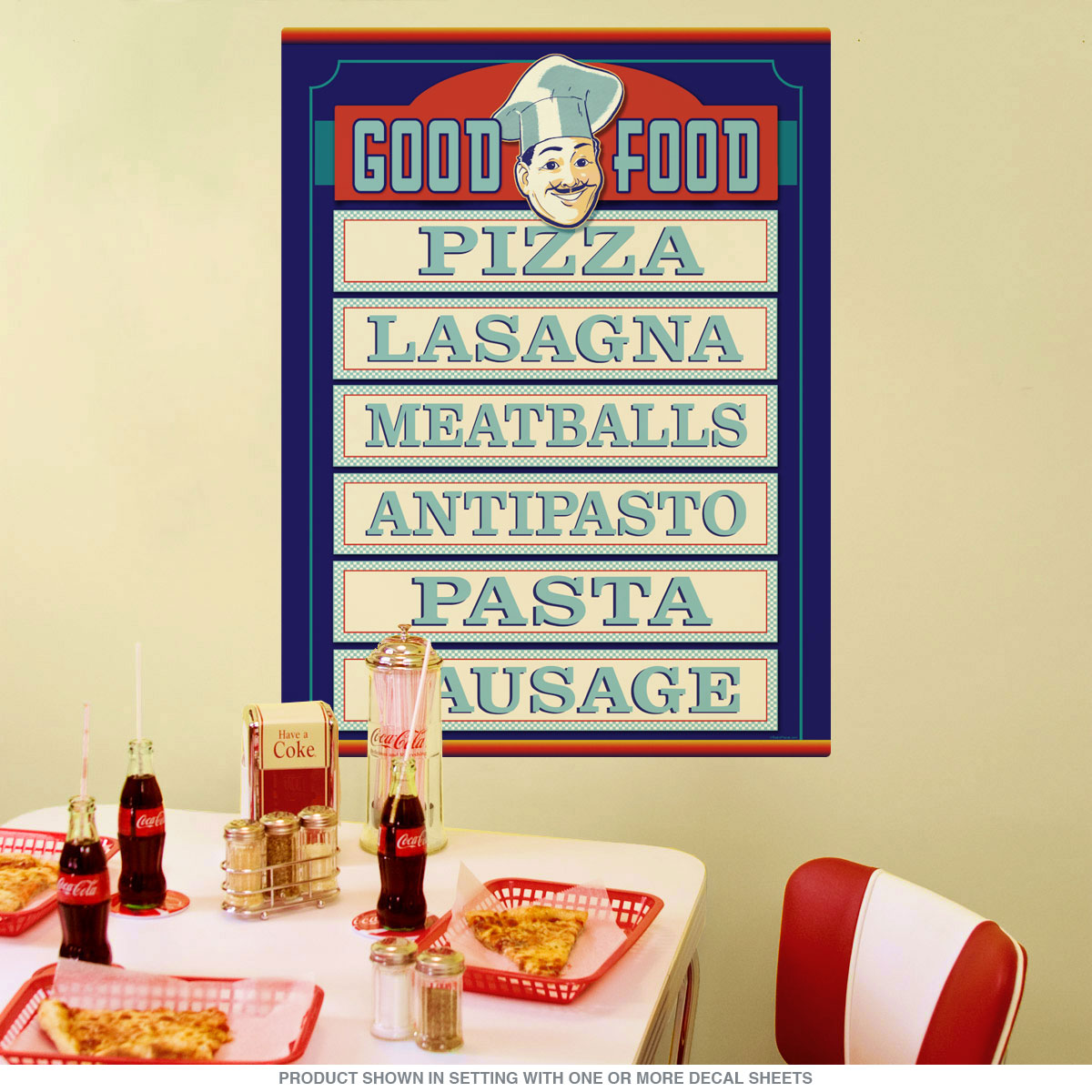 Good Food Italian Chef Menu Wall Decal | Restaurant Decor ...