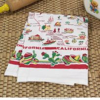 California Map Red Border Souvenir Dish Towel