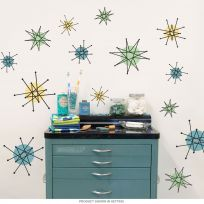 Atomic Starburst 50s Style Wall Decals Sheet Medium