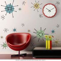 Atomic Starburst 50s Style Wall Decals Sheet Large