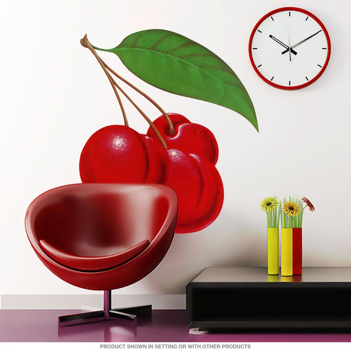 Cherries bunch fruit wall decal kitchen wall decor retroplanet cherries bunch fruit wall decal close amipublicfo Choice Image