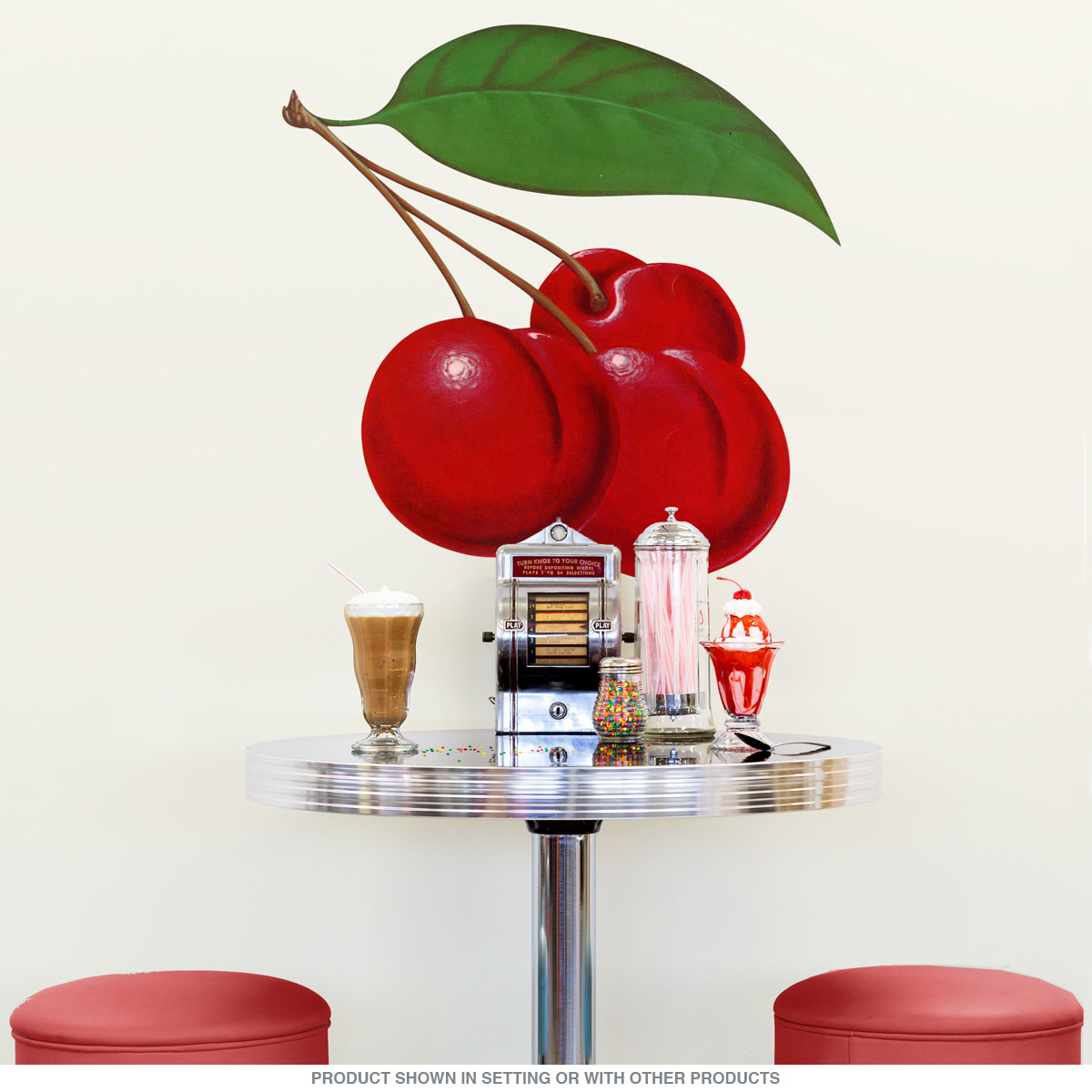 Cherries bunch fruit wall decal kitchen wall decor retroplanet offers in retro gifts and decor amipublicfo Choice Image
