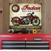 Indian Motorcycle Model 101 Scout Metal Sign