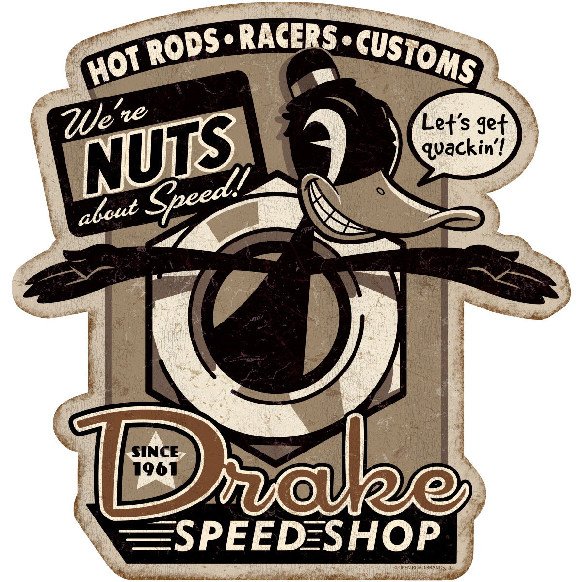 sc 1 st  Retro Planet & Drake Speed Shop Duck Nut Wall Decal | Garage Decor | RetroPlanet.com