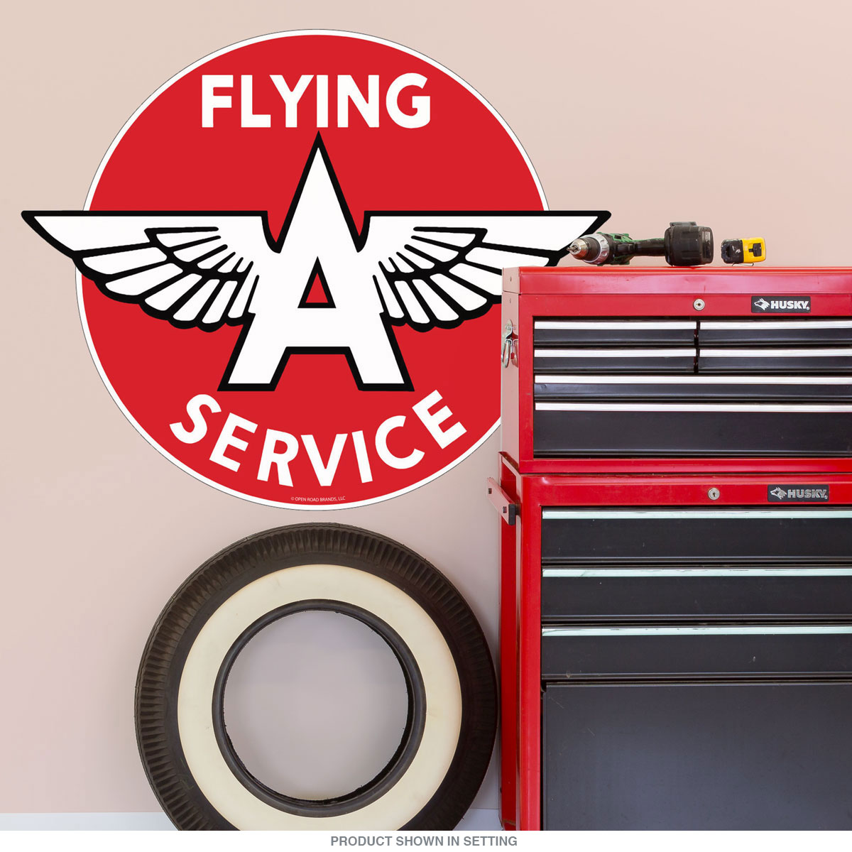 Flying A Service Gas Station Wall Decal Vintage Style Garage