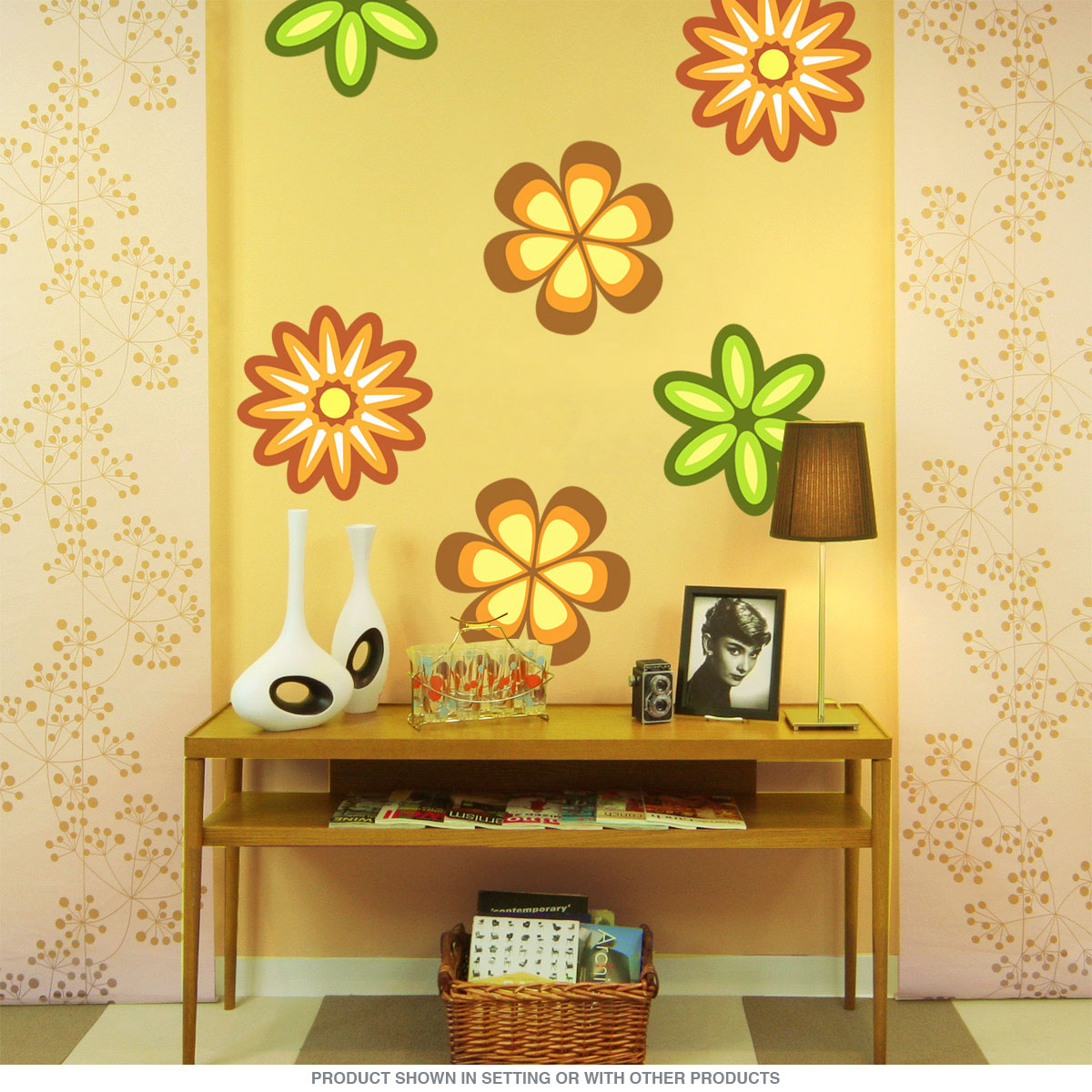 Mod Flower 70s Style Cutout Wall Decal Orange | Removable Wall ...
