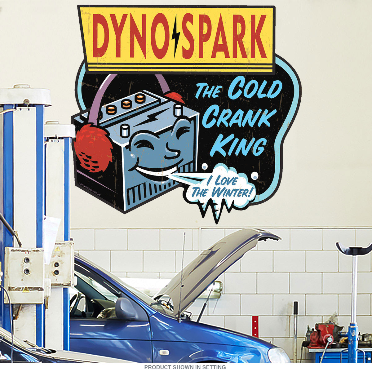 Retro garage transportation removable wall decals retroplanet dyno spark car battery wall decal amipublicfo Gallery