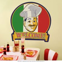 Welcome Italian Chef Flag Wall Decal