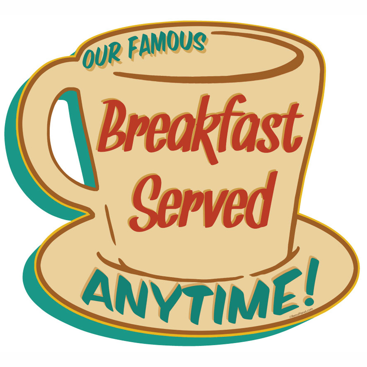 Breakfast Anytime Coffee Cup Diner Wall Decal | Kitchen Decor ...