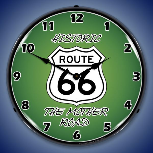 Route 66 Shield Historic Mother Road Light Up Clock