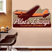 Pilots Lounge Airplane Wall Decal