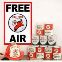 Texaco Fire Chief Metal Sign Free Air Wall Decal Combo