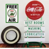 Sinclair Dino Gas Metal Sign Free Air Wall Decal Combo