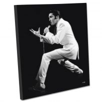 Elvis White Suit Singing Stretched Canvas