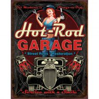 Hot Rod Garage Service With a Smile Pinup Tin Sign