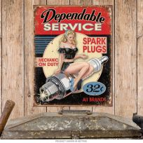 Dependable Service Spark Plugs Pin-Up Garage Sign