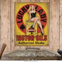 Lucky Lady Motor Oils Pin-Up Girl Tin Sign
