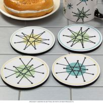 Atomic Starburst Rubber Drink Coasters Set Of 4
