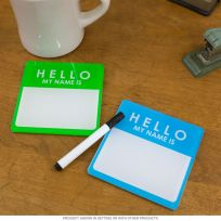 Hello Name Tag Acrylic Drink Coasters Set Of 2_D
