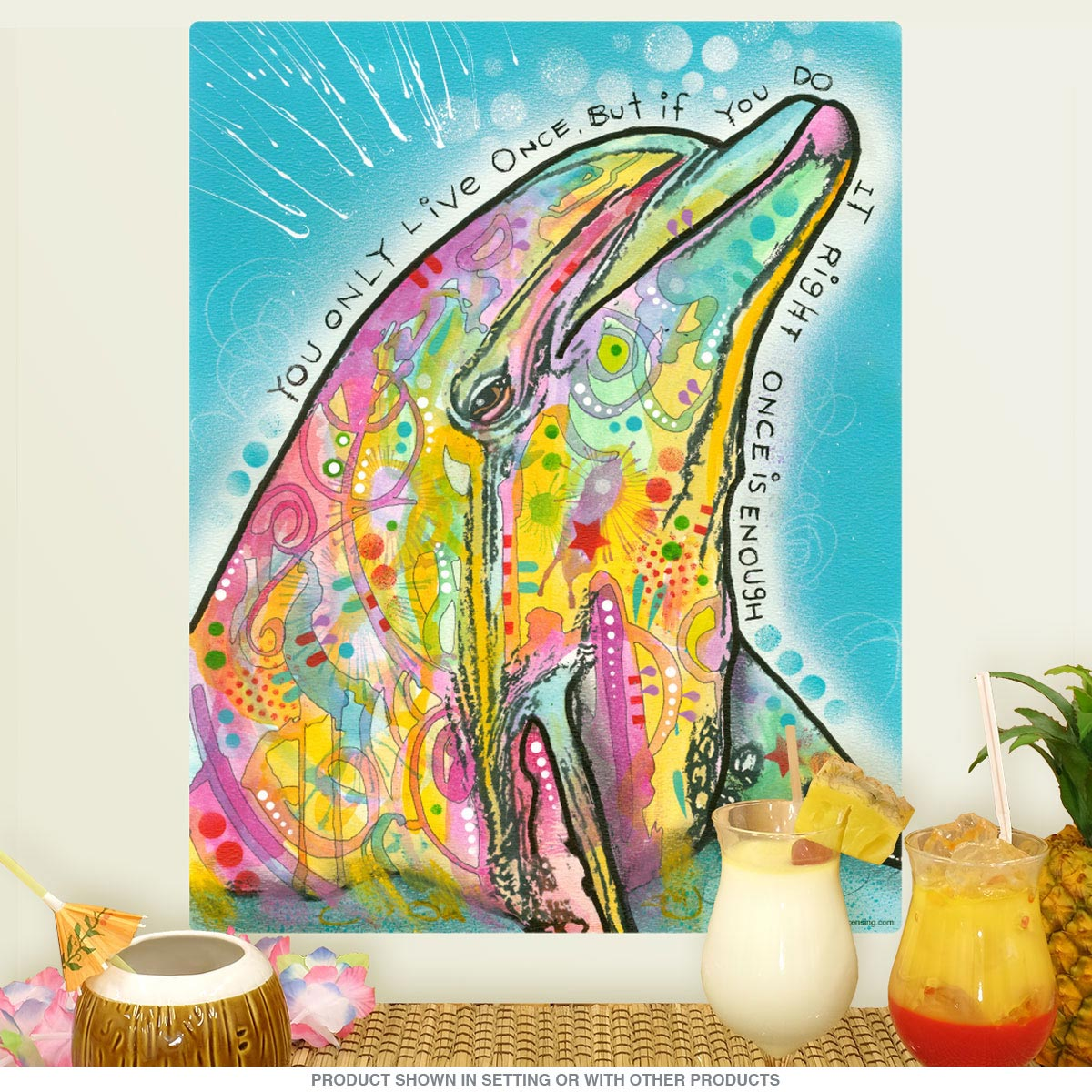 ... Pop Art Wall Decal. Zoom  sc 1 st  Retro Planet & Dolphin Yolo Dean Russo Pop Art Wall Decal | Removable Wall Stickers ...