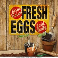 Fresh Eggs Vintage-Style Country Kitchen Sign