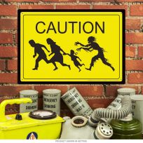 Caution Zombie Chasing Family Warning Sign